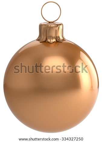 Christmas ball New Year's Eve bauble golden wintertime decoration sphere hanging adornment classic. Traditional winter holidays home ornament Merry Xmas event symbol shiny blank. 3d render isolated - stock photo
