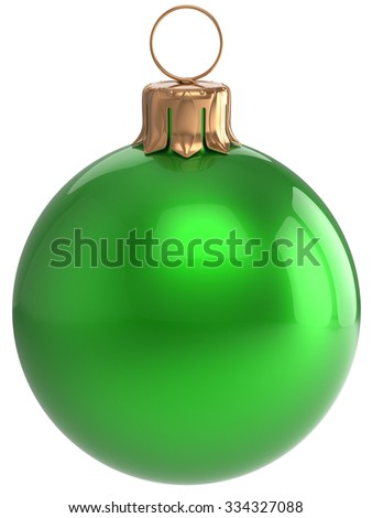 Christmas ball New Year's Eve bauble green wintertime decoration sphere hanging adornment classic. Traditional winter holidays home ornament Merry Xmas event symbol shiny blank. 3d render isolated - stock photo