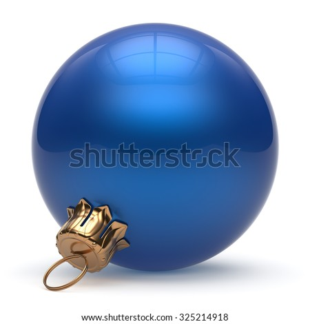 Christmas ball New Year's Eve bauble wintertime decoration blue sphere hanging adornment classic. Traditional winter ornament happy holidays Merry Xmas event symbol glossy blank. 3d render isolated - stock photo