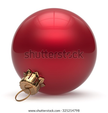 Christmas ball New Year's Eve bauble wintertime decoration red sphere hanging adornment classic. Traditional winter ornament happy holidays Merry Xmas event symbol glossy blank. 3d render isolated - stock photo