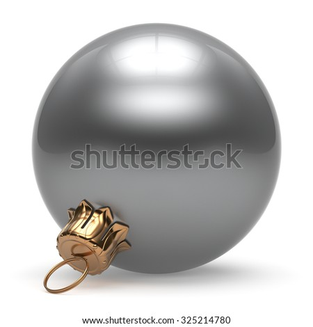Christmas ball New Year's Eve bauble wintertime decoration white sphere hanging adornment classic. Traditional winter ornament happy holidays Merry Xmas event symbol glossy blank. 3d render isolated - stock photo