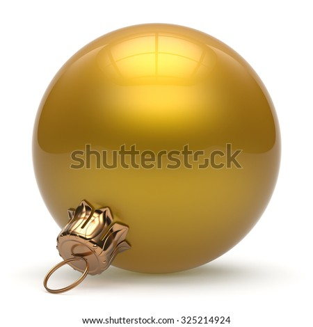 Christmas ball New Year's Eve bauble wintertime decoration yellow sphere hanging adornment classic. Traditional winter ornament happy holidays Merry Xmas event symbol glossy blank. 3d render isolated - stock photo