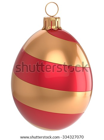 Christmas ball New Year's Eve egg bauble wintertime decoration glossy red golden hanging adornment luxury. Traditional winter happy holidays ornament Merry Xmas symbol blank. 3d render isolated - stock photo
