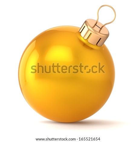 Christmas ball New Years Eve bauble decoration gold yellow golden wintertime ornament icon traditional. Shiny Merry Xmas winter holidays symbol classic blank. 3d render isolated on white background - stock photo