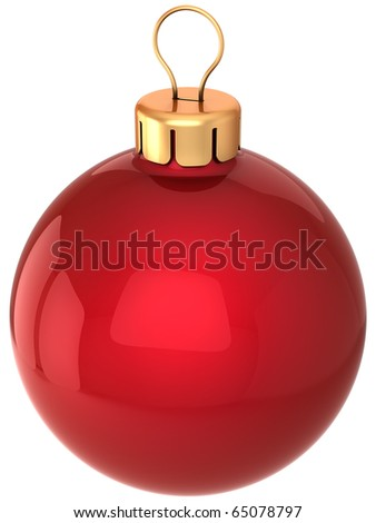 Christmas ball New Years Eve bauble decoration red. Merry Xmas greeting card design element blank. Traditional wintertime celebration holidays icon concept. 3d render isolated on white background