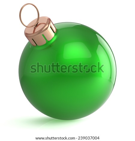 Christmas ball New Years Eve ornament decoration green wintertime bauble icon traditional. Shiny Merry Xmas winter holidays symbol blank. 3d render isolated on white background - stock photo