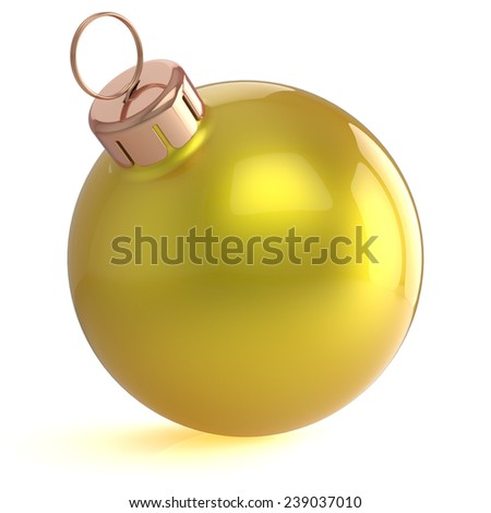 Christmas ball New Years Eve ornament decoration yellow golden wintertime bauble icon traditional. Shiny Merry Xmas winter holidays symbol blank. 3d render isolated on white background - stock photo