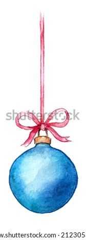 Christmas ball on a pink ribbon on a white background - stock photo