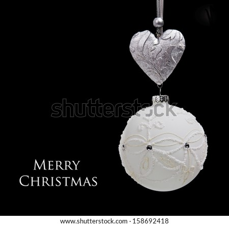 christmas ball on black background - stock photo