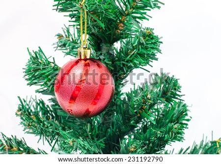 Christmas ball on Christmas tree - stock photo