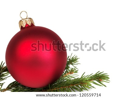 christmas ball on fir branch, white background - stock photo