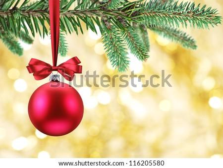 Christmas ball on fir branches. - stock photo