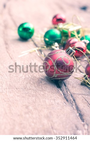christmas ball on old wooden