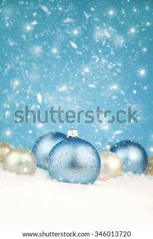 Christmas ball on the snow. - stock photo
