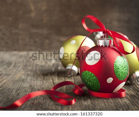 Christmas ball on wooden background - stock photo