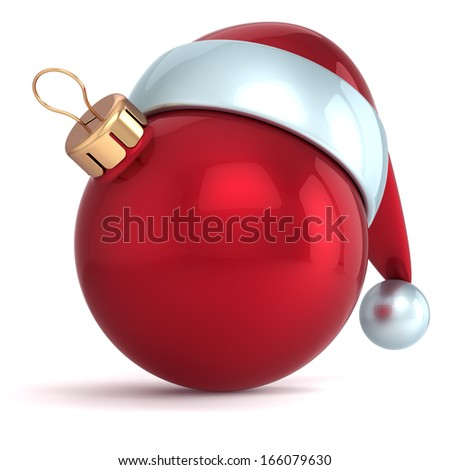 Christmas ball ornament new years eve bauble decoration red santa hat icon happy emoticon blank. Seasonal traditional wintertime Merry Xmas souvenir icon. 3d render isolated on white background - stock photo