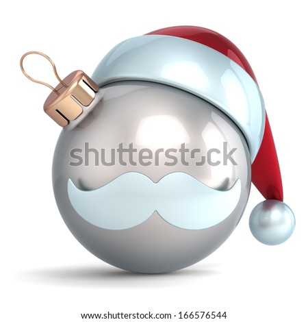 Christmas ball ornament Santa Claus hat New Years Eve bauble silver chrome decoration happy emoticon avatar icon. Traditional Merry Xmas mustache souvenir. 3d render isolated on white background - stock photo