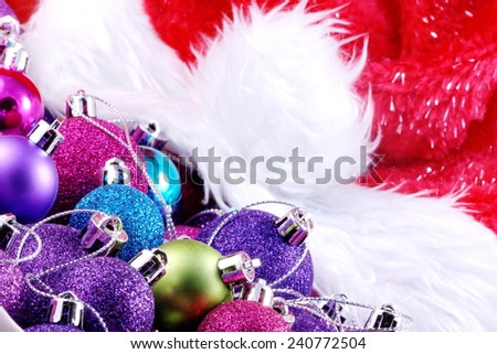 Christmas ball ornaments with Santa hat