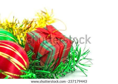christmas ball over white background
