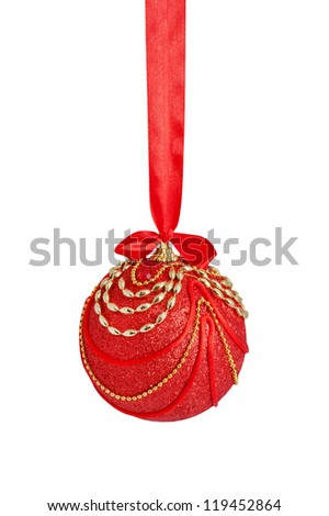 Christmas ball, red and gold, decorated with beads and satin bow, covered with cloth. Hand-made. Christmas decoration. - stock photo