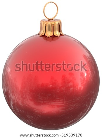 Christmas ball red New Year's Eve bauble decoration shiny wintertime hanging sphere adornment souvenir. Traditional ornament happy winter holidays Merry Xmas symbol classic. 3d illustration isolated