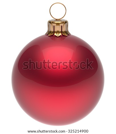Christmas ball red New Year's Eve bauble wintertime decoration glossy sphere hanging adornment classic. Traditional winter ornament happy holidays Merry Xmas symbol blank round. 3d render isolated - stock photo