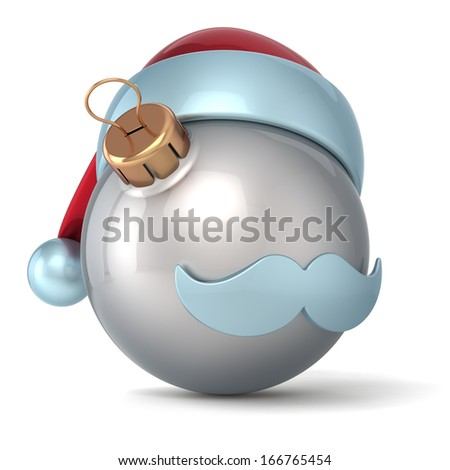 Christmas ball Santa Claus hat New Years Eve bauble ornament silver decoration happy emoticon avatar icon. Seasonal wintertime Merry Xmas mustache souvenir. 3d render isolated on white background - stock photo