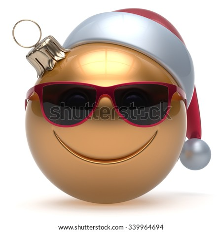 Christmas ball smiley face emoticon Happy New Year's Eve bauble cartoon decoration cute golden. Merry Xmas cheerful funny smile Santa hat glasses person laughing joy character toy adornment. 3d render - stock photo