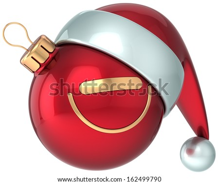 Christmas ball smiley face red Happy New Year Santa hat decoration. Winter joy emoticon. Merry Xmas holiday positive stylized funny character concept. Detailed 3d render. Isolated on white background - stock photo