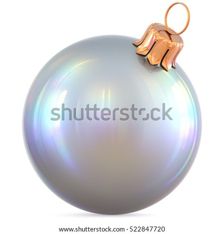 Christmas ball white silver polished New Year's Eve decoration shiny bauble wintertime hanging metallic souvenir. Traditional ornament happy winter holidays Happy Merry Xmas symbol. 3d illustration