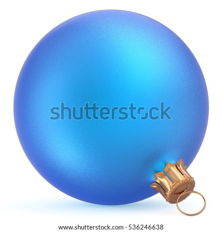 Christmas ball wintertime ornament blue New Year's Eve hanging shiny sphere decoration adornment bauble souvenir. Traditional happy winter holidays Merry Xmas symbol closeup. 3d illustration isolated