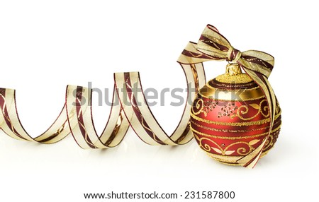 Christmas ball with bow and ribbon isolated on white - stock photo