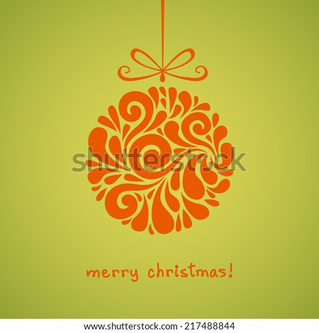 Christmas ball with bow. Decoration made from swirl shapes. Circle design element. Greeting, invitation cute card. Simple illustration for print, web - stock photo