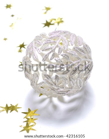Christmas ball with golden stars decoration - stock photo