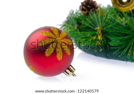 Christmas ball with pine branch
