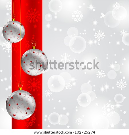 christmas ball with red star decorated on abstract winter gray background - stock photo