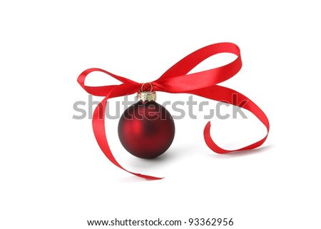 Christmas ball with red tape, isolated on white background