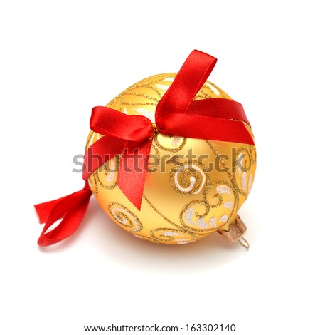Christmas ball with ribbons isolated on white background - stock photo