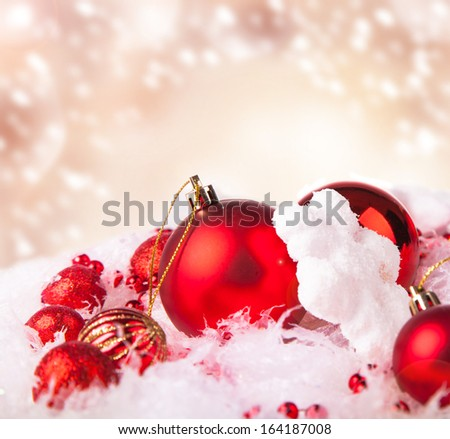 Christmas ball with snow and decorations