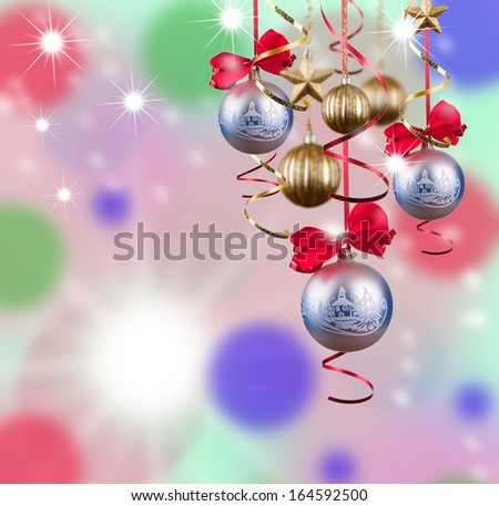 Christmas ball with snow and decorations, abstract background