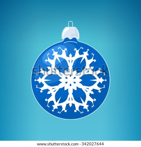 Christmas Ball with Snowflake , Blue Ball  on a Light  Blue Background , Christmas Tree Decoration,  Merry Christmas and Happy New Year - stock photo