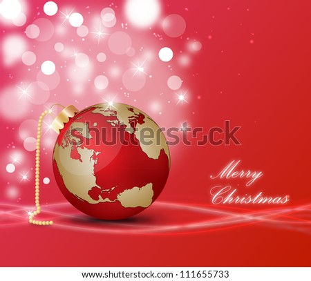 Christmas ball world map on decorated stock illustration 111655733 christmas ball with world map on a decorated background gumiabroncs Images