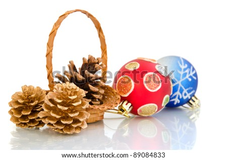 Christmas balls and cones in a basket