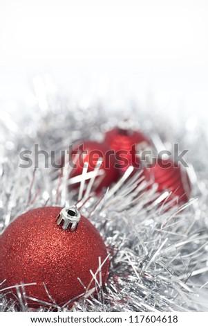 Christmas balls and decoration on white background - stock photo