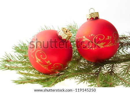 Christmas balls and fir branch