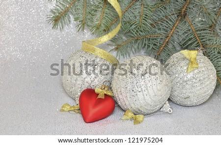 Christmas balls and fir branch - stock photo