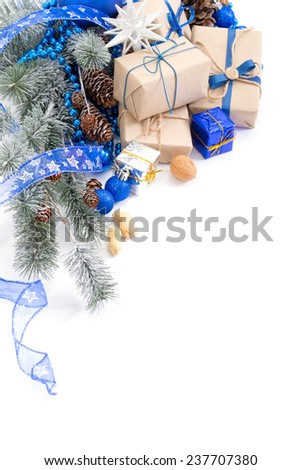 Christmas balls and fir branch on white background - stock photo