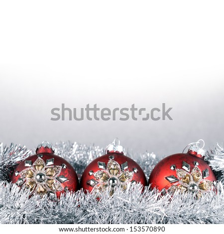 Christmas balls and garland close up - stock photo