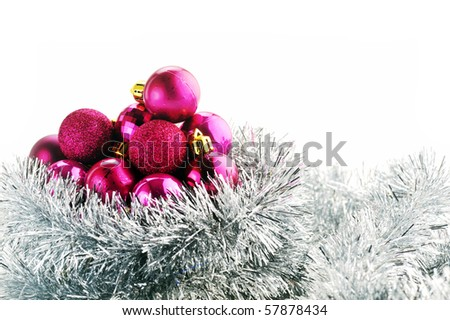 Christmas balls and garland  isolated on  white background - stock photo
