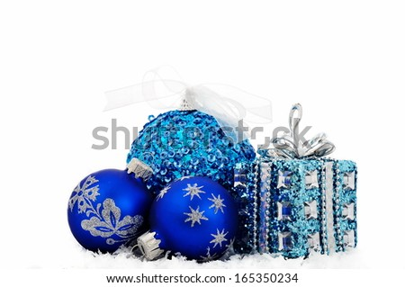 Christmas balls and gift isolated on white background  - stock photo